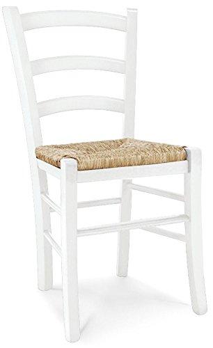 ARREDinITALY - Juego de 2 sillas Seline acabado Shabby blanco mate y asiento de paja