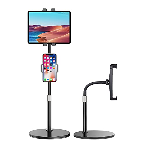 Elitehood iPad Stand, Adjustable iPad Stand and Holder for Desk with Heavy Base, Tall Desktop iPad Holder Stand for iPad Pro 12.9 11, iPad Air, Mini, Kindle and 4-12.9'' Tablet and Phone
