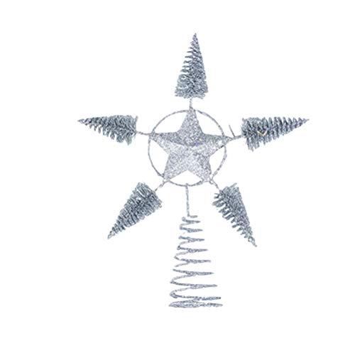 BESTOYARD Estrella de Árbol de Navidad Plateado Brillante para Decoración de Copa de Árbol de Navideño