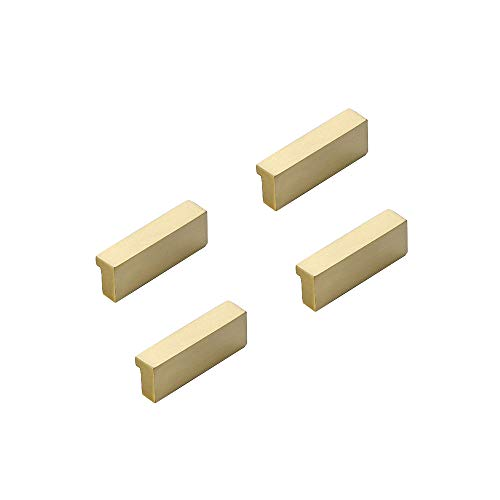 "RZDEAL Simple Kitchen Cabinet Pulls Solid Brass Knobs and Pulls Brushed Gold Bathroom Cabinet Handles and Knobs Hardware (4Pcs, 2.0""X2/3"")"