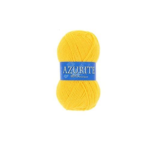 les colis noirs lcn Pelote de Laine Azurite 100% Acrylique Tricot Crochet Tricoter - Jaune - 3006