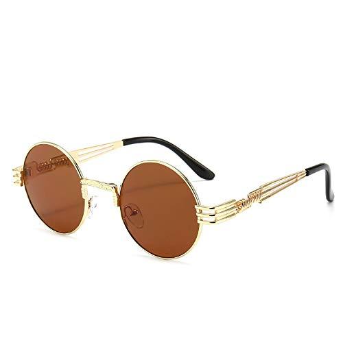 Vibner Gafas de Sol Gafas De Sol Steampunk Góticas De Moda Retro para Hombres Y Mujeres, Anteojos con Envoltura De Metal, Gafas De Sol Redondas De Diseñador De Marca, Espejo Uv400 C14