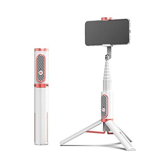JIANGQIAO Trípode 3 en 1 para selfies con Bluetooth, para teléfono móvil, apto para disparar vídeo en smartphone (color oro blanco).