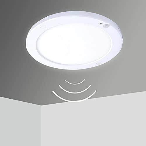 LED Deckenleuchte mit Bewegungsmelder IP40 18W Warmweiß Lampe Innen Aussen Rund Ultraslim 1.8cm Deckenlampe Modern Sensor Licht für Flur Küche Wohnzimmer Badezimmer Schlafzimmer Werkstatt