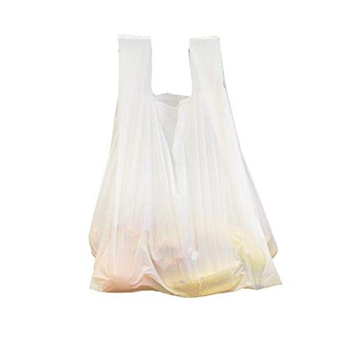 sellaviva Sacs en Plastique avec Anse, Blanc, 6 l - Lot de 100