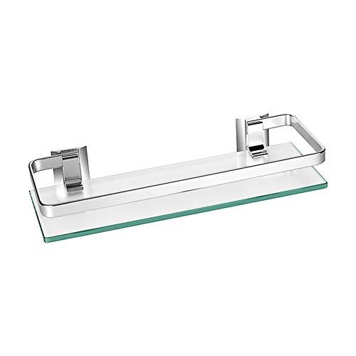 JanTeelGO Spessore vetro temperato Scaffale per bagno cucina mensola da parete in alluminio, alluminio (1-Tier)