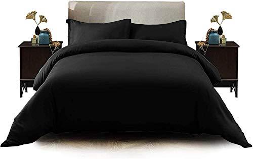 Funda de edredón con fundas de almohada, diseño liso, no necesita planchado y microfibra, juego de ropa de cama, Black Duvet Set, matrimonio grande