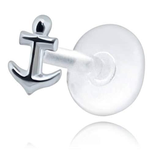Inoki – Mikro-Labret Biosafe Motiv Anker Silber – Armreif / Schaft 1,2 mm lang Int. 8 mm, Element 5 mm