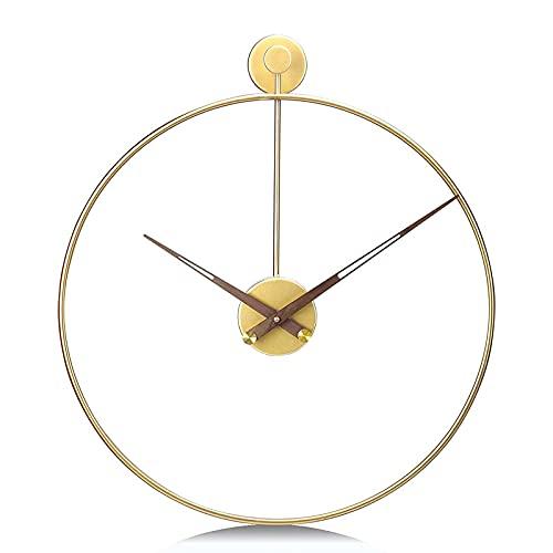 WASDY 50cm Reloj de Pared Grande Salon Moderno Dorado Silencioso Hierro Decoración...
