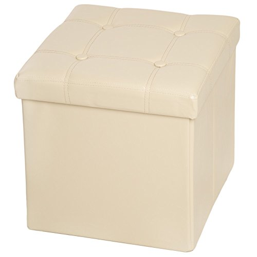 TecTake 38x38x38 cm Faltbarer Sitzhocker Sitzwürfel mit Stauraum Kunstleder - Diverse Farben - (Beige (Nr. 401474))