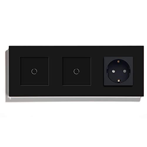 BSEED Normal Touch Lichtschalter 1 Fach 1 Wege mit AC Steckdosen Glas Touch-Panel 16A 250V Schwarz 228mm