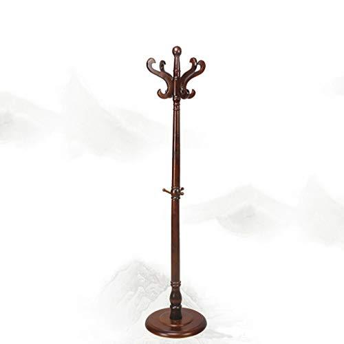 SDFGH kapstok, massief houten kapstok, creatieve kleerhangers | hoedenplank met paraplustandaard 8 haken | solide basis (bruin)