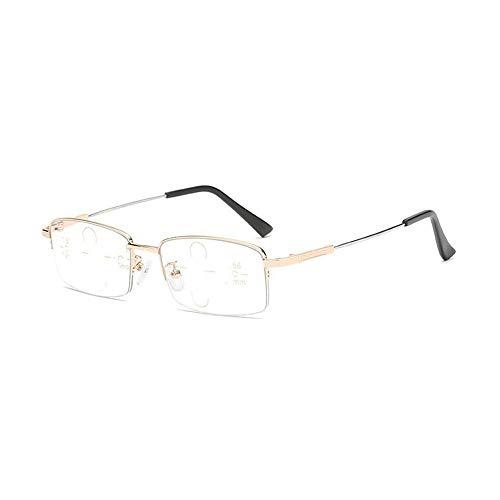Gafas de lectura de luz anti-azul de mediana edad y ancianos, de doble uso tanto para cerca como para lejos, con marco de aleación de titanio con memoria, flexible y no se rompe fácilmente, no se de