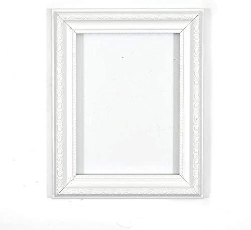 Verzierter Bilderrahmen im - weiß a4 - Shabby Chic B/Foto/Posterrahmen - Mit Rückwand MDF Platte - Mit einem bruchsicheren Plexiglas aus Styrol für hohe Klarheit