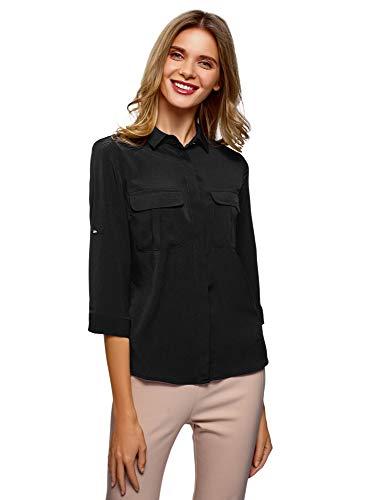 oodji Ultra Damen Bluse aus Fließendem Stoff mit Brusttaschen, Schwarz, DE 40 / EU 42 / L