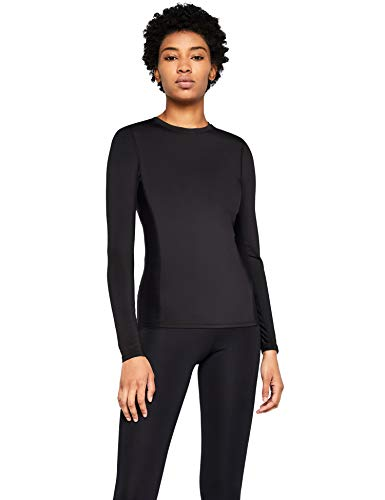 Marca Amazon - AURIQUE Camiseta Deportiva con Panel de Rejilla Mujer, Negro (Black), 42, Label:L