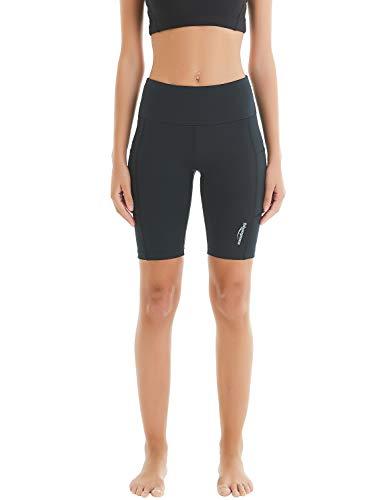 COOLOMG Damen Shorts Yoga Leggings kurz Sport Training Fitness Laufhose mit Taschen Schwarz M