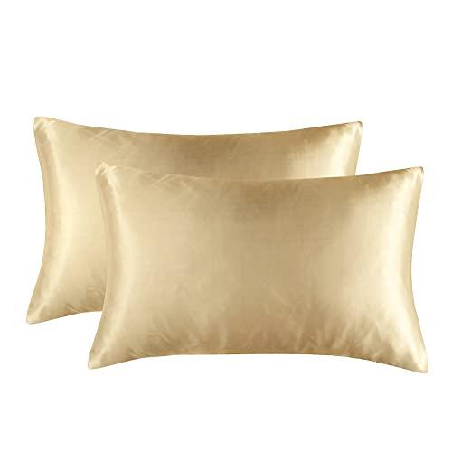 Funda de almohada de verano para decoración del hogar, 2 unidades, tamaño estándar, ultra suave, material sedoso, funda de almohada de color sólido (beige, 20 x 30 pulgadas)