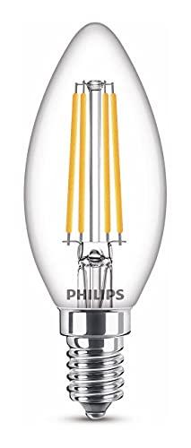 Philips Lampadina LED Candela Filamento, Equivalente a 40W, Attacco E14, Luce Bianca Calda, Dimmerabile