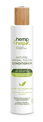 Acondicionador Natural Herbal Fusion 250ml con extracto de cáñamo y cúrcuma Para un cabello más fuerte y más largo Repara, fortalece y suaviza todo tipo de cabello. Increíble aroma a coco