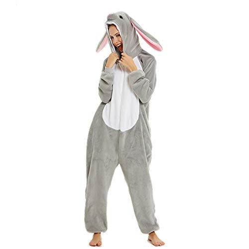 Tier-Einteiler für Erwachsene, Flanell, mit Kapuze, flauschig, superweich, Cartoon-Nachtwäsche, Halloween, Cosplay-Kostüm, hase, M(Fits Height 158-167cm)