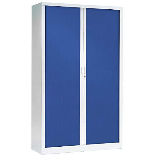 Armoire Monobloc à rideaux | Blanc | Bleu | HxLxP 1980 x 1200 x 430 | Certeo