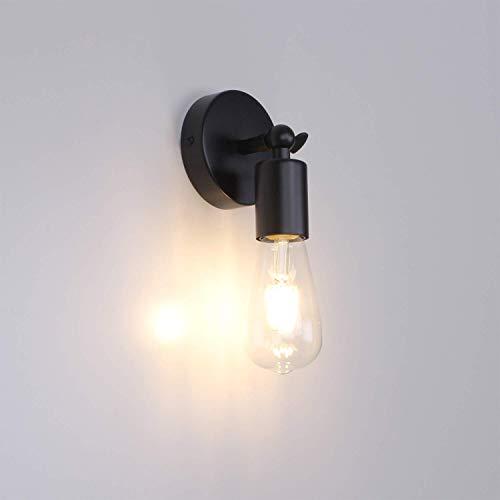 MantoLite Schwarz Wandleuchte Licht,E27 Edison Bulbs Verstellbarer Lampenhalter, Industrielles Nachttisch Lampe Leseleuchte Leuchte Beleuchtung Fixture Für Wohnzimmer Flurtreppen (Ohne Glühbirne)