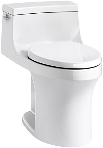 KOHLER K-5172-0 San Souci Comfort Height Compact Elongated 1.28 GPF Toilet with Aqua Piston Flushing Technology and Left-Hand Trip Lever