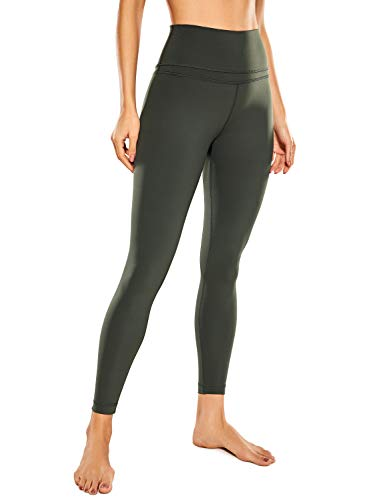 CRZ YOGA Mujer Naked Feeling Deportivos 7/8 Leggings Yoga Fitness Pantalon de Cintura Alta con Bolsillos-63cm Verde oliva-R009 40