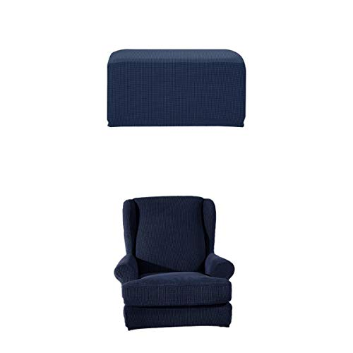 joyMerit Stretch Wing Back Arm Chair Cover Mit Ottoman Footstool Schonbezug Dark Blue
