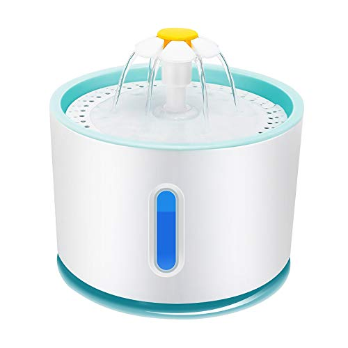 BTOPER Fuente para Gatos 2.4?L, Ultra silenciosa con Ventana de Nivel de Agua y LED Azul, Fuente Estilo Flor en Cascada para Gatos Saludable e higiénica con 1 Filtro de carbón