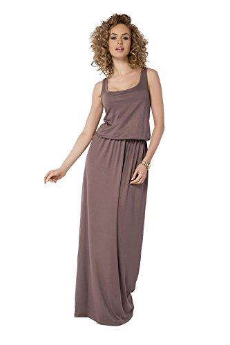 AE Sommer-Kleid Maxi Kleid elastischer Bund Gr. 36 38 40 42 44 46, B21 Cappuccino L/XL 40/42