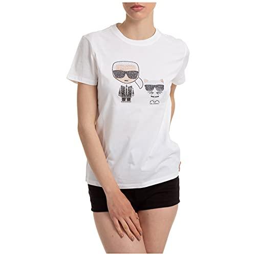 KARL LAGERFELD Ikonik - Camiseta con pedrería, para mujer, algodón, blanco, 210W1725...