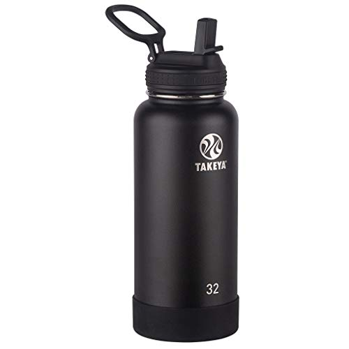 Takeya Actives Insulated Stainless Steel Water Bottle with Straw Lid, 32 oz, Onyx