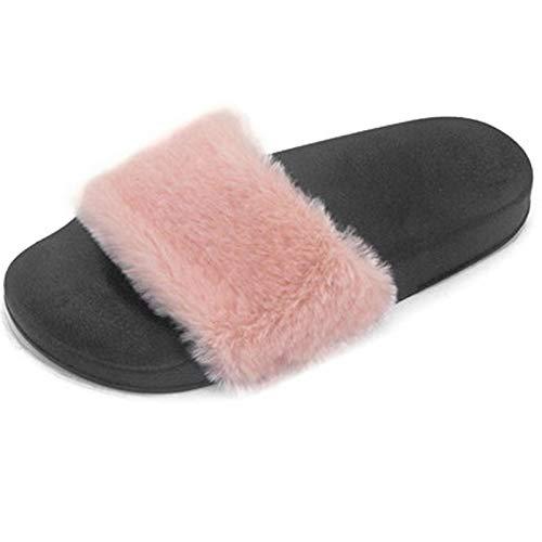 De Piel De Felpa Rosa para Mujer, Zapatillas De Diseño Cruzado De Punta Abierta, Cómodas, De Fondo Plano, Cómodas, para La Casa |36 EUR |UK 45