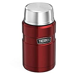 Thermos vacuum insulation keeps food hot for 9 hours or cold for 14 Durable stainless steel interior and exterior Insulated lid doubles up as a bowl Cool to the touch with hot liquids, sweat-proof with cold Wide mouth is easy to fill, eat from and cl...
