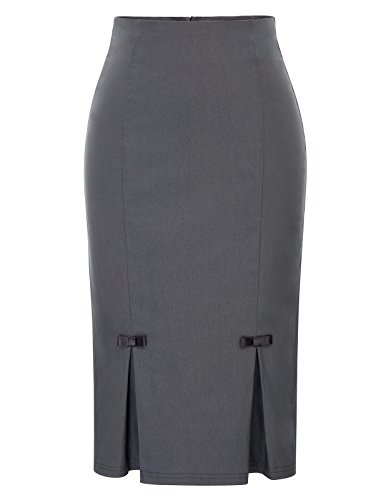 Belle Poque Summer Pencil Skirts Stretchy Comfortable Skirts M BP587-2 Gray