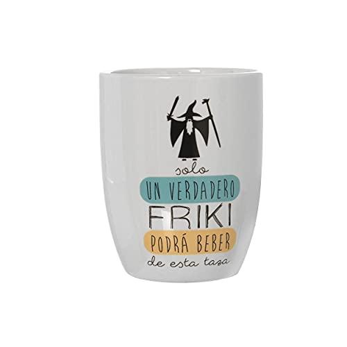 HOGAR Y MAS Taza/Mug Desayuno de Cerámica para Frikis, con Frase Original Solo un Verdadero Friki. ø8,5x10 cm - 385 ml