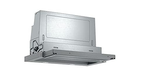 Bosch DFR067A52 Serie 4 Flachschirmhaube/A / 60 cm/Silbermetallic/wahlweise Umluft- oder Abluftbetrieb/Kurzhubtasten / 1 Intensivstufe/Metallfettfilter (spülmaschinengeeignet)