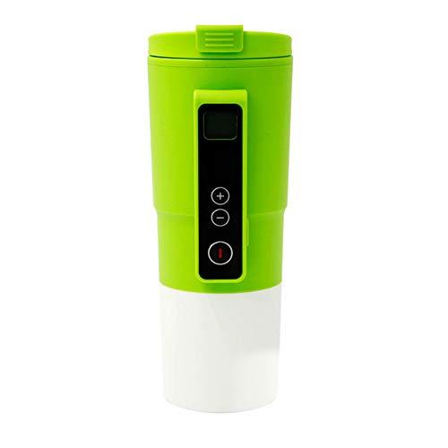 CHENGREN Heizungswasserbecher für Auto, intelligente Temperaturregelung Reisekaffeetasse, elektrisch beheizte Reisebecher 12-V-Edelstahlbecher Smart beheizte Autotasse Milch warm halten Tasse,Grün
