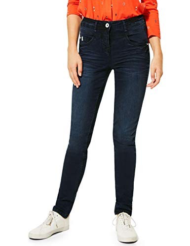 Cecil Damen 373434 Style Toronto in blau-schwarzer Waschung Jeans, Dark Blue Used wash, W31/L30