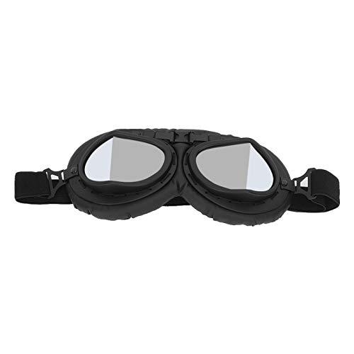 Studyies Gafas de Carreras Gafas de Ciclismo Protector Ocular Superior para Scooters para Dirt Bike(A123-Hoja Plateada Negra, Tipo de Amor)