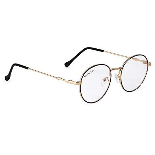 ROYAL SON Unisex Metal Round Anti-Reflection Lens Eyeglasses Optical/Spectacle/Eyewear Frame (Golden, Small)