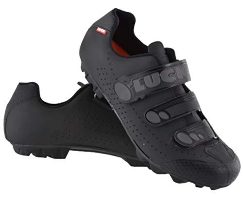 LUCK Zapatillas de Ciclismo Matrix Revolution MTB, con una estupenda Suela de Carbono Muy Ligera y rígida y Triple Velcro para un Ajuste (44 EU, Negro)