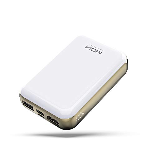 MOXNICE Power Bank Portable Phone Charger 10000mAh Powerbank, USB C Battery Pack with LCD Display and Dual Output (White)