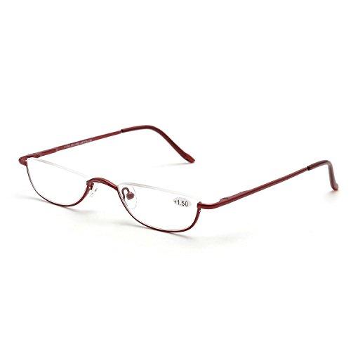Inlefen Gafas de lectura Spring Hinges Unisex Half Moon Half Frame Gafas de lectura delgadas Vintage Metal Semi sin montura Eyewea 1.0 1.5 2.0 2.5 3.0 3.5 4.0