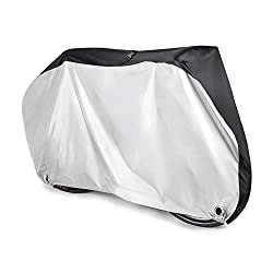 PERFECT DESIGN: Double-stitched hems with heat seamed sealing prevent water from leaking through the sewing. Easily covers the entire bike including wheels. DURABLE PROTECTION: High density and durability 190T nylon material and PU coating, repel wat...