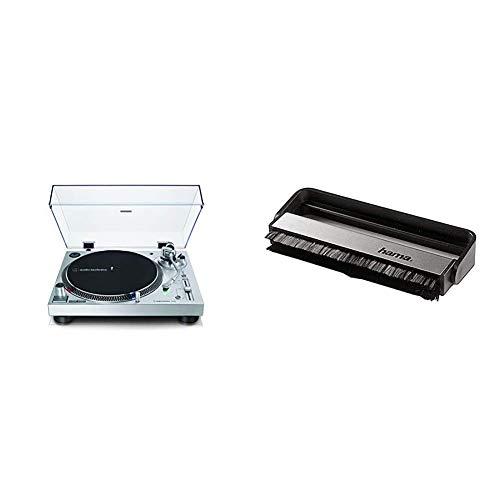 Audio-Technica AT-LP120X direktangetriebener Plattenspieler (Analog und USB) Silber & Hama Carbon-Faserbürste für Langspielplatten (antistatisch Schallplatten reinigen, Vinylbürste), schwarz/Silber