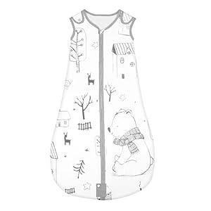 Yoofoss Saco de dormir para bebés Niños de 6-18 Meses años de 70 a 90 cm y 4 Estaciones 100% al algodón orgánico Unisex (M, Bosque)