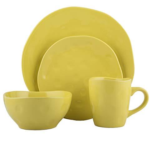 Melange Stoneware 16-Piece Dinnerware Set | Irregular Shape Collection | Service for 4 | Microwave, Dishwasher & Oven Safe | Dinner Plate, Salad Plate & Soup Bowl & Mug, Yellow (4 Each)